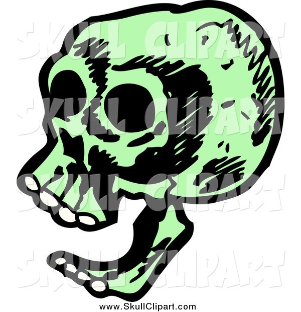 Vector Clip Art of a Laughing Green Skull from the Side