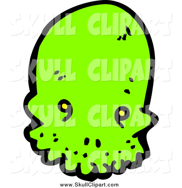 Vector Clip Art of a Lime Green Alien Skull