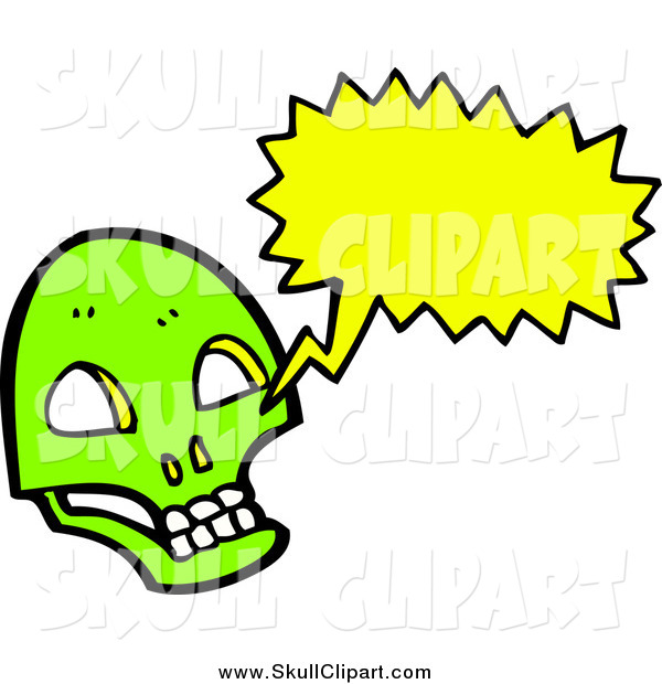 Vector Clip Art of a Lime Green Skull with a Conversation Bubble