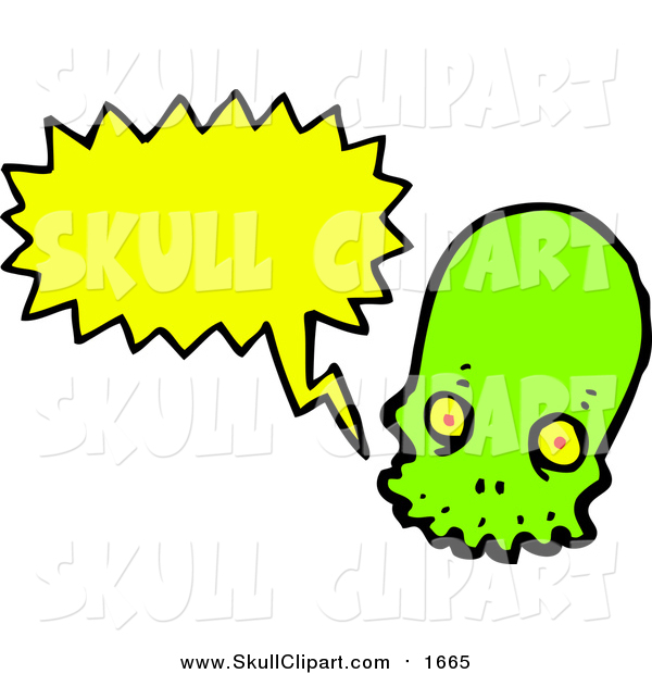 Vector Clip Art of a Line Green Skull with a Conversation Bubble