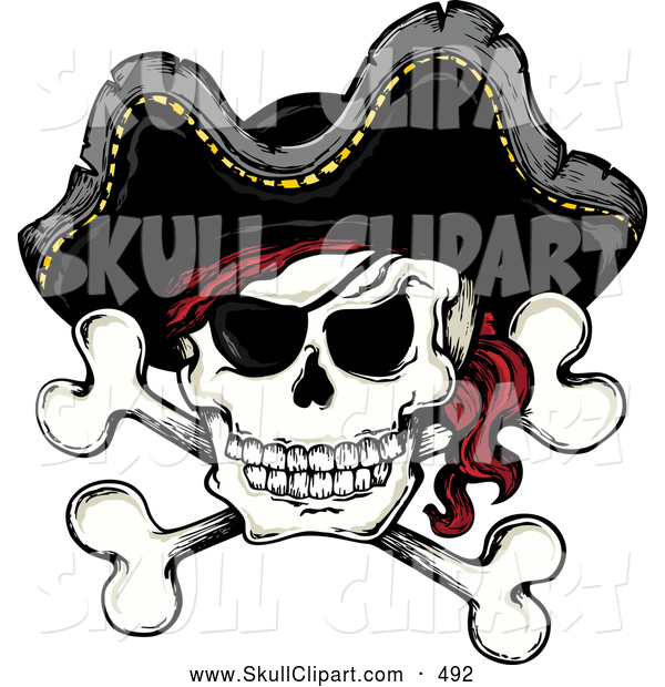 Vector Clip Art of a Mad Jolly Roger Pirate Skull and Cross Bones with a Hat