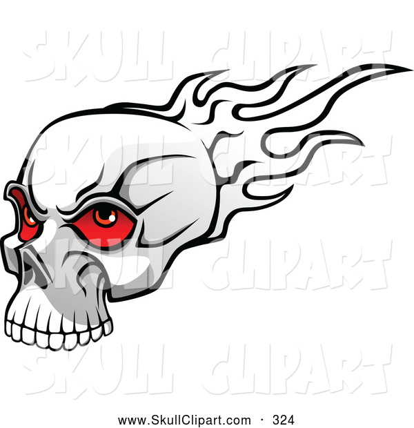Vector Clip Art of a Mean Flaming Skull with Red Eyeballs