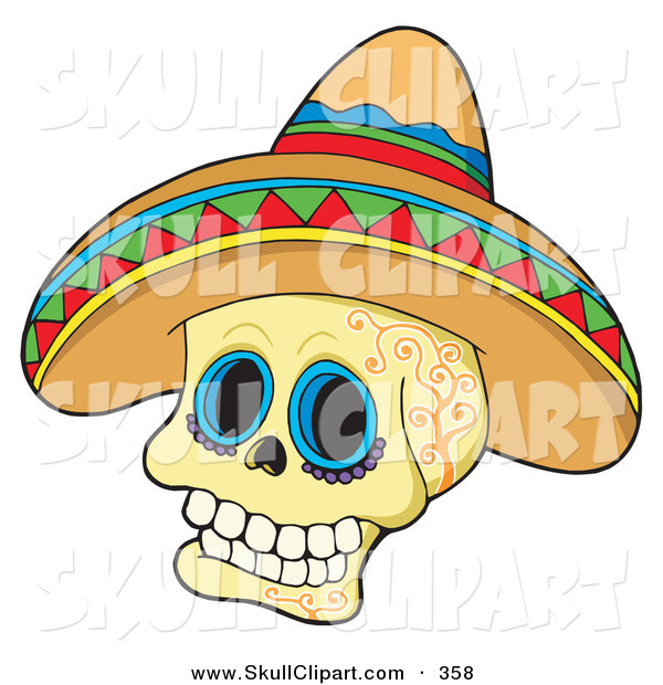 Vector Clip Art of a Mexican Skull Wearing a Sombrero Hat