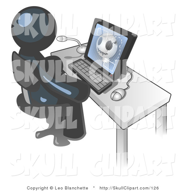 Vector Clip Art of a Navy Blue Medical Doctor Man Sitting at a Computer and Viewing an Xray of a Head