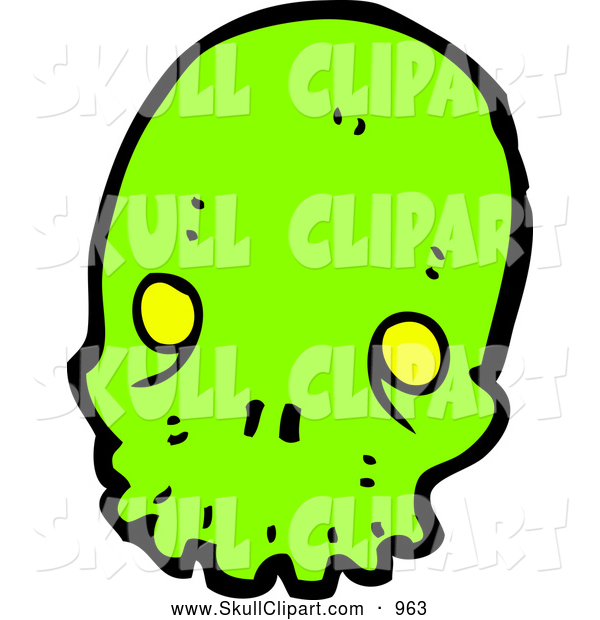Vector Clip Art of a Neon Green Alien Skull