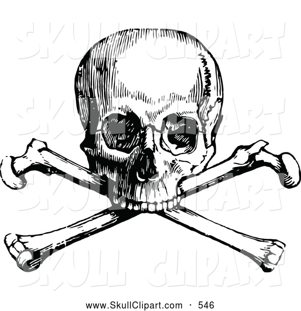 Vector Clip Art of a Old Fashioned Retro Vintage Black and White Skull and Crossbones