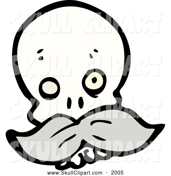 Vector Clip Art of a One Eyed Skull with a Mustache
