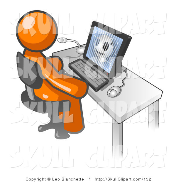 Vector Clip Art of a Orange Doctor Man Sitting at a Computer and Viewing an Xray of a Patient's Head