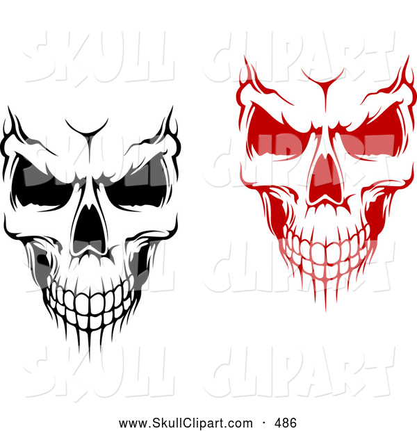 Vector Clip Art of a Pair of Evil Black and White and Red Skulls