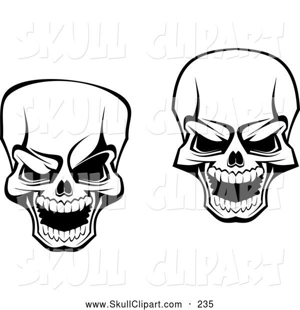 Vector Clip Art of a Pair of Scary Skull Designs