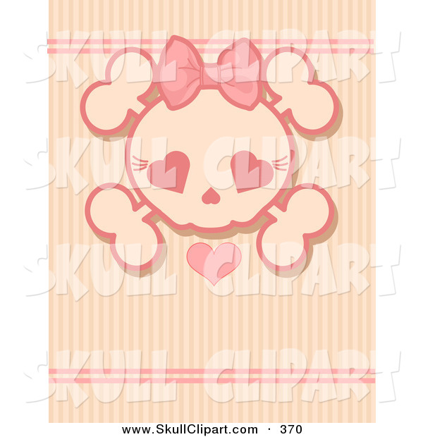 Vector Clip Art of a Pink Girly Skull with a Heart over a Stripe Background