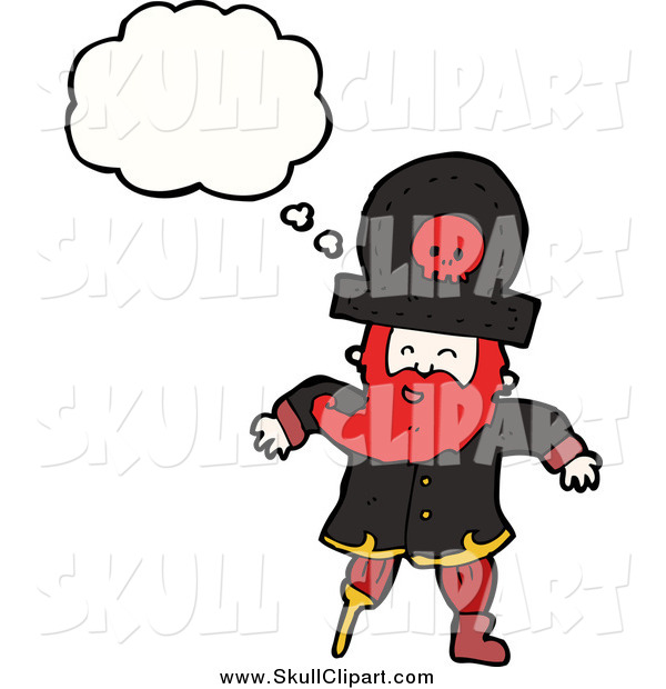 Vector Clip Art of a Pirate Captain with a Thought Bubble