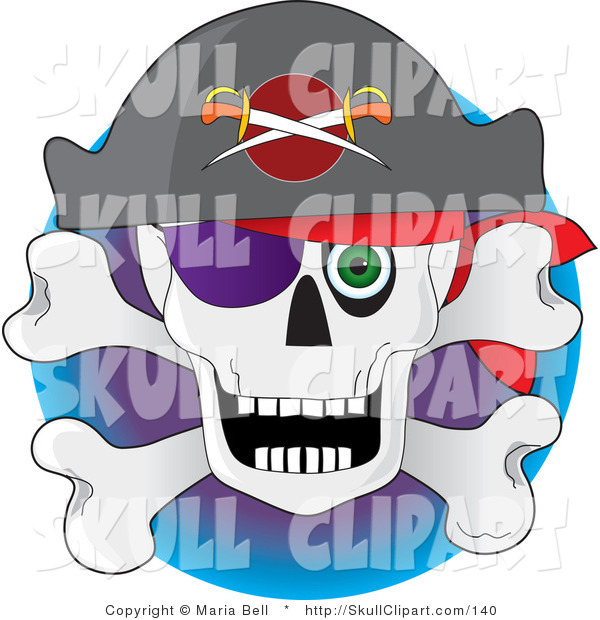 Vector Clip Art of a Pirate's Skull and Crossbones with a Hat, Eye Patch and a Staring Green Eye