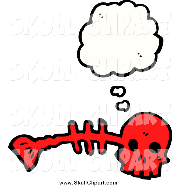 Vector Clip Art of a Red Fish Bone with Conversation Bubble