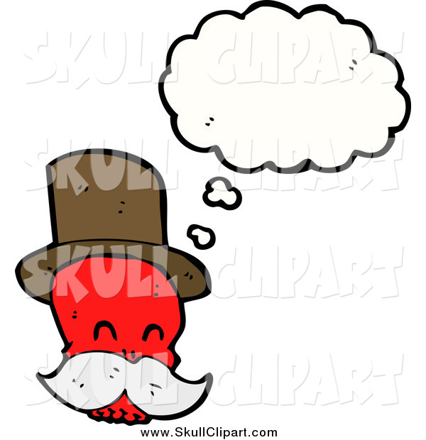 Vector Clip Art of a Red Mustached Skull Wearing a Top Hat Thinking