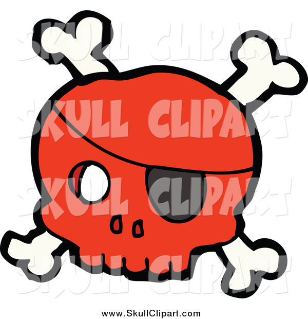 Vector Clip Art of a Red Pirate Skull and Crossbones with an Eye Patch