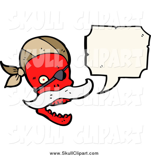 Vector Clip Art of a Red Pirate Skull Talking