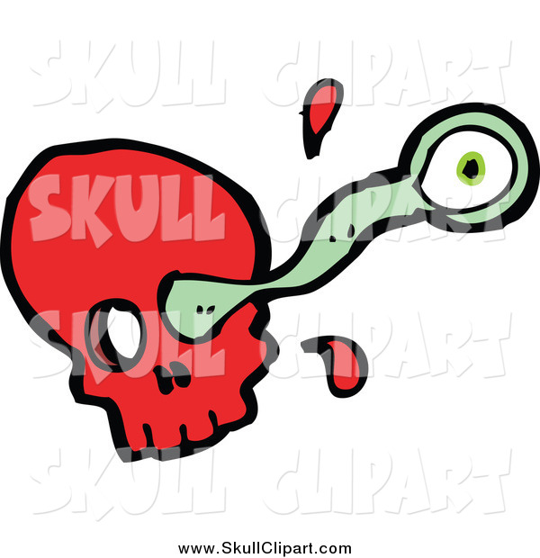 Vector Clip Art of a Red Skull and Eyeball Shooting out of a Socket