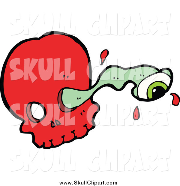 Vector Clip Art of a Red Skull and Eyeball Through a Socket