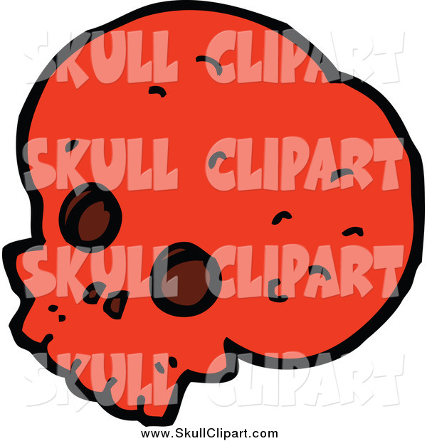 Vector Clip Art of a Red Skull Facing Slightly Left