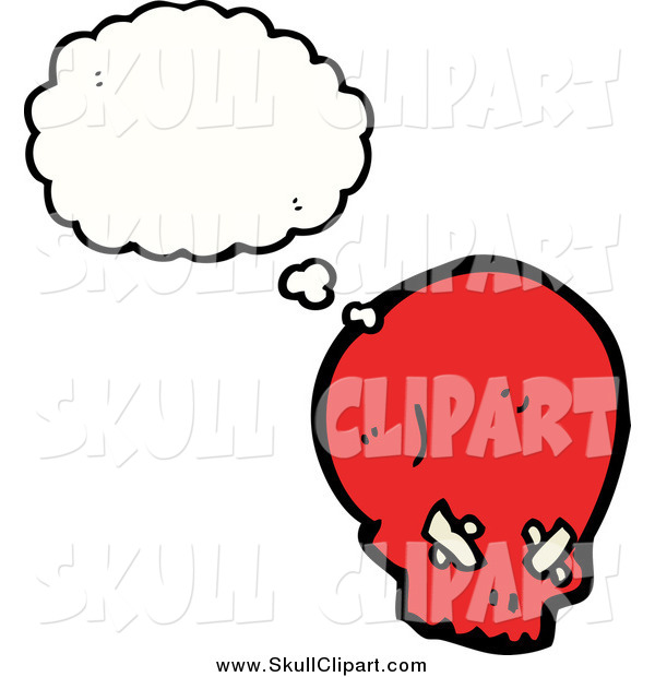 Vector Clip Art of a Red Skull in Thought