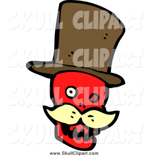 Vector Clip Art of a Red Skull with a Blond Mustache and Top Hat