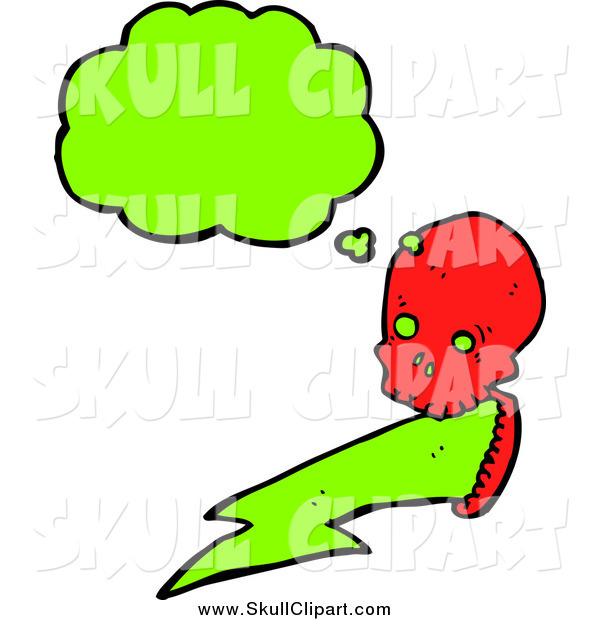 Vector Clip Art of a Red Skull with a Green Lightning Bolt and Conversation Bubble