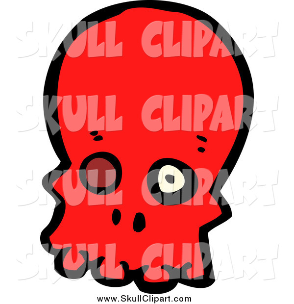 Vector Clip Art of a Red Skull with a Missing Eye