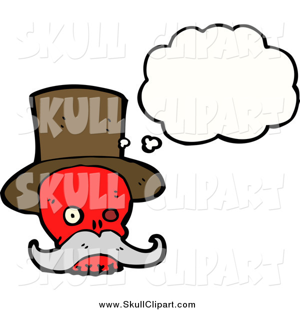 Vector Clip Art of a Red Skull with a Top Hat and Mustache, Thinking