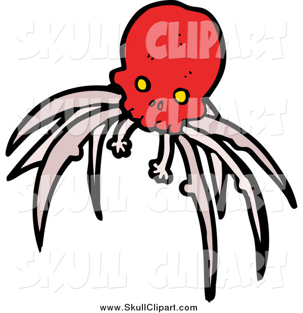 Vector Clip Art of a Red Skull with Creepy Legs