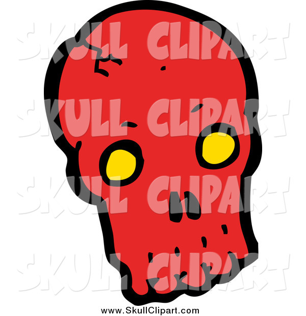 Vector Clip Art of a Red Skull with Yellow Eye Sockets