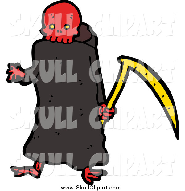 Vector Clip Art of a Red Skulled Grim Reaper Holding a Scythe
