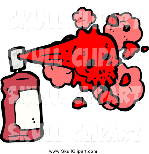 Vector Clip Art of a Red Spray Paint Can and Skull