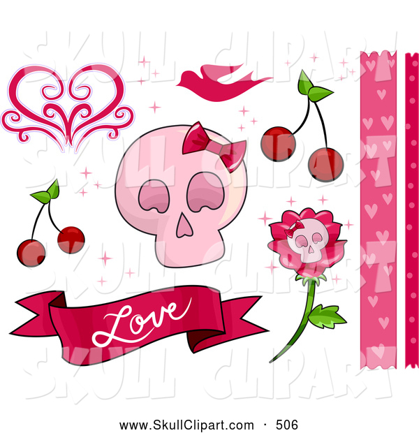 Vector Clip Art of a Romantic Pink Feminine Skull and Love Border and Design Elements