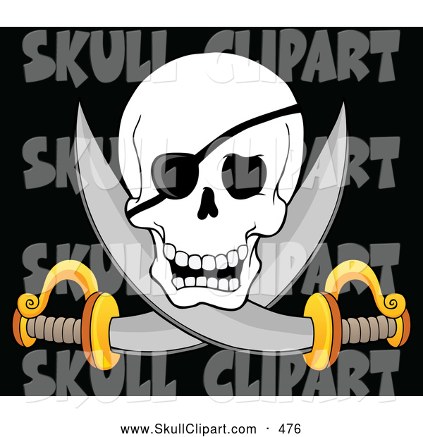 Vector Clip Art of a Scary Pirate Skull and Cross Swords on Black
