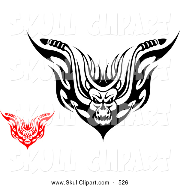Vector Clip Art of a Scary Red and Black and White Demons with Flames