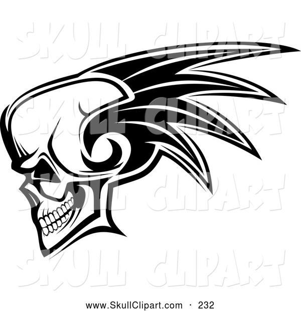 Vector Clip Art of a Scary Skull with a Mohawk