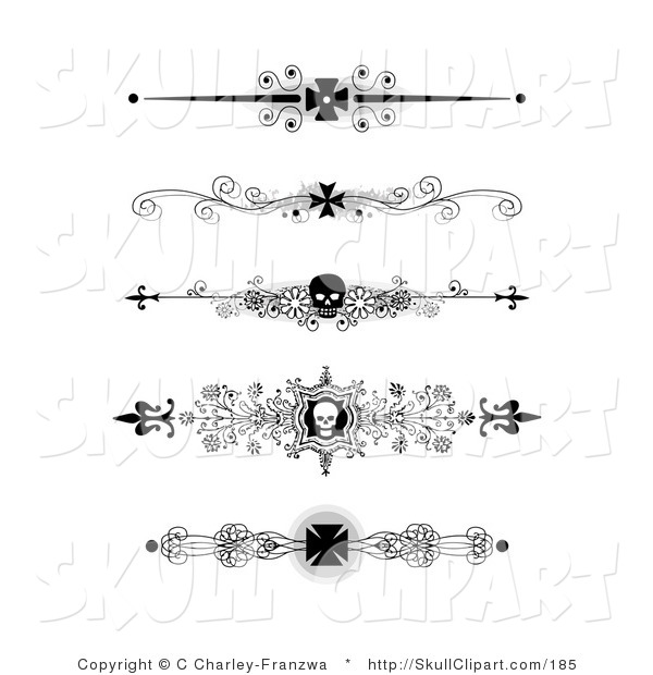 -art-of-a-set-of-five-black-and-white-flourish-iron-cross-and-skull ...