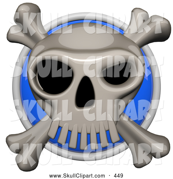 Vector Clip Art of a Shiny 3d Shiny Blue Circular Skull and Cross Bones Pirate Icon Button