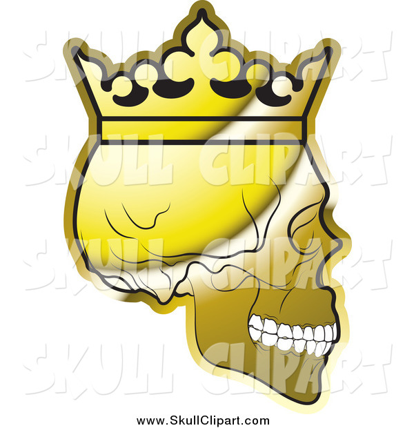 Vector Clip Art of a Shiny Gold Human Skull Wearing a Crown, in Profile