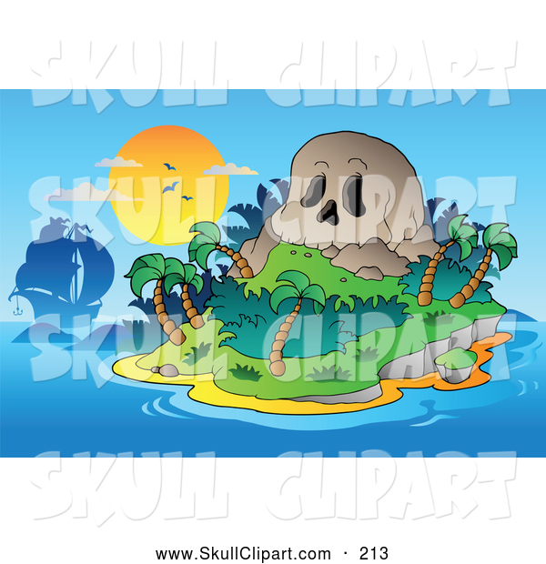 Vector Clip Art of a Ship by a Skull Mountain Tropical Island at Sunset