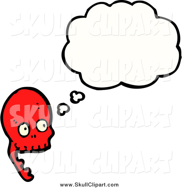 Vector Clip Art of a Shocked Red Skull Thinking