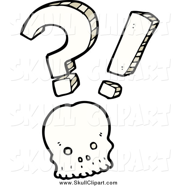 Vector Clip Art of a Shocked Skull with a Question Mark and Exclamation Point