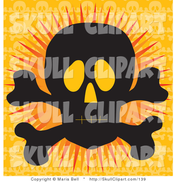 Vector Clip Art of a Silhouetted Black Human Skull and Crossbones with Glowing Eye Sockets, over an Orange Background