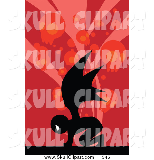 Vector Clip Art of a Silhouetted Demon over a Red Background with Skulls