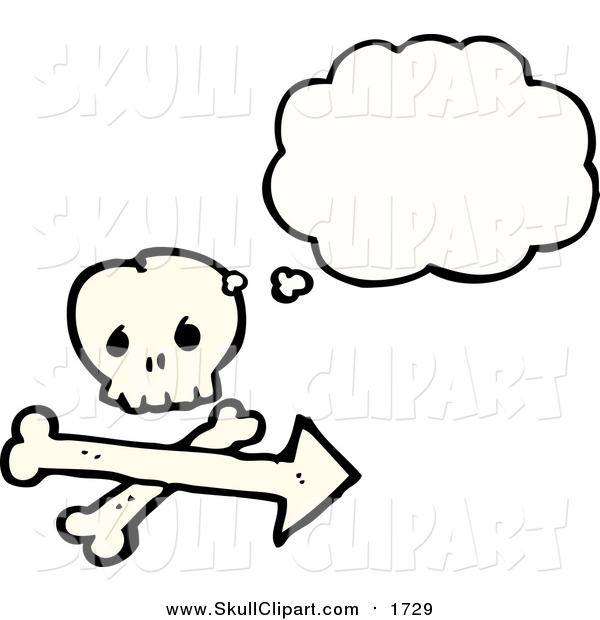 Vector Clip Art of a Skull and Crossbones with a Thought Bubble