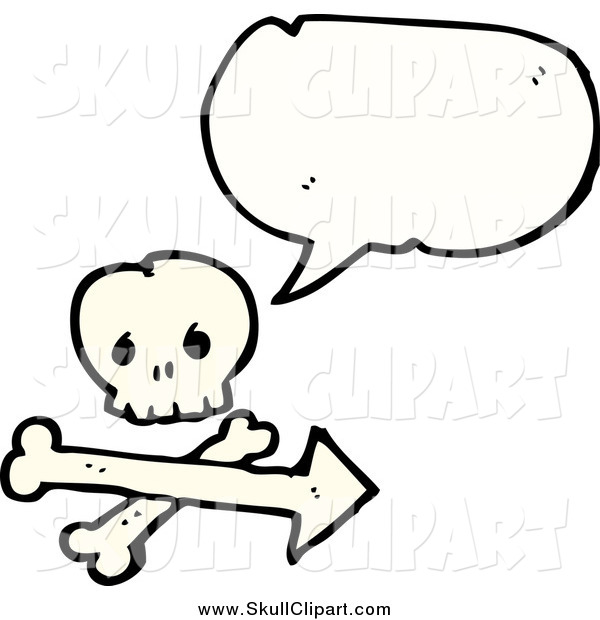 Vector Clip Art of a Skull and Crossbones with an Arrow and a Conversation Bubble