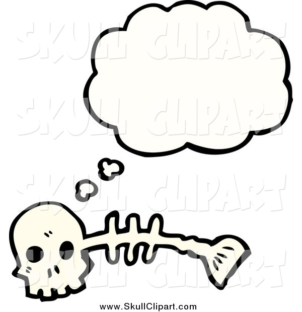 Vector Clip Art of a Skull and Fish Skeleton Thinking