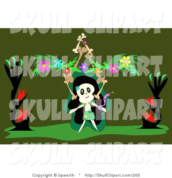 Vector Clip Art of a Skull Character Dancing with a Snake, Balancing a Stack of Bones and Flower Garland, on a Green Background on Halloween