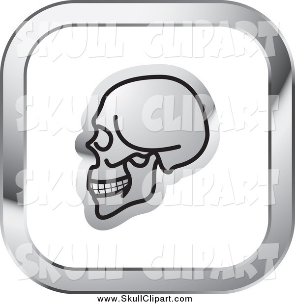 Vector Clip Art of a Skull on a Square Silver and White Icon